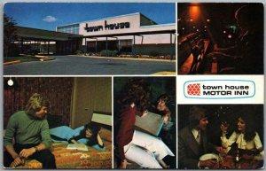 c1970s FARGO North Dakota Postcard TOWN HOUSE MOTOR INN Multi-View Chrome Unused