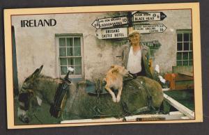Ireland - Man, Donkey, Dog & Signpost - Unused - Writing On Back