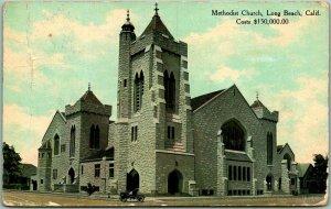 1910 Long Beach, California Postcard METHODIST CHURCH Costs $150,000 / Cancel