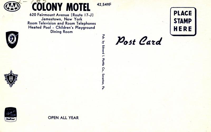 NY - Jamestown. Colony Motel