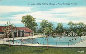 1940s Swimming  Pool Carthage Missouri Municipal park linen Teich postcard 10798