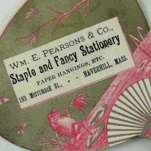 1880's Die Cut Fan Anthropomorphic Frog Victorian Trade Card P31