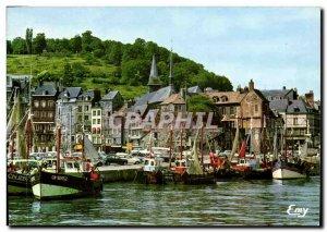 Postcard Honfleur Modern fishing boats in dock in port before Lieutenancy Qua...