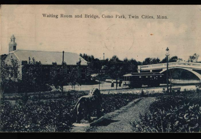 St Paul MN Elliston MT Como Park Twin Cities Trolley Bridge Waiting Postcard B06