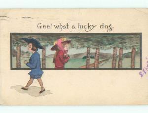 Pre-Linen signed COBB SHINN - BOY IS ENVIOUS OF DOG HELD BY PRETTY GIRL J3656