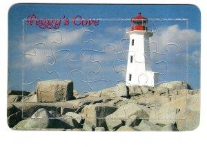 Vintage Jigsaw Puzzle Postcard Peggy's Cove Lighthouse, Nova Scotia