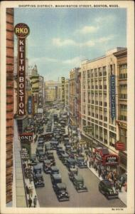 Boston MA Washington St. Shopping Dist Linen Postcard