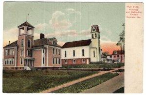 Oakland, Me, High School Building and Methodist Church