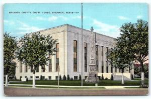 Postcard TX Sherman Grayson County Court House Vintage Linen R44