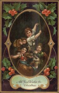 Christmas - Children Play Music Violin Flute Cymbals c1910 PFB Postcard