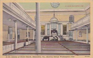 Virginia Alexandria Interior Of Christ Church Showing George Washingtons Pew ...