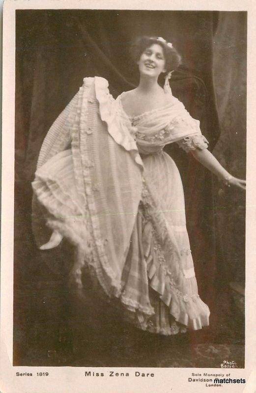 1906 Stage Actress Miss Zena  Dare Davidson Brothers postcard 13210 RPPC