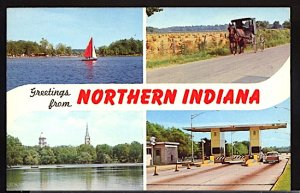 USA Postcard Greetins From Northern Indiana Toll Plaza Horse & Buggy Sailboat