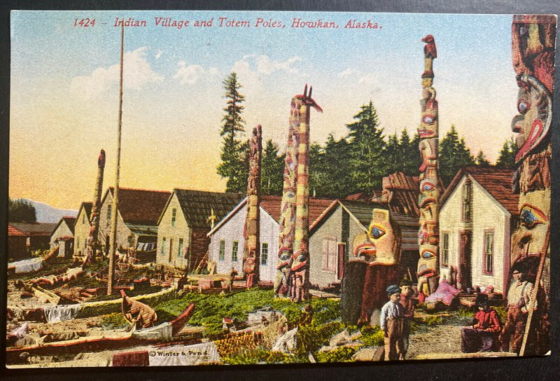 Mint Alaska USA Picture Postcard PPC Indian Village And Totem Poles Howkan