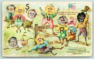 Fantasy~Pansies Playtime~Pansy People Large Letter~Newark US Ind Ins Co~1898 VTC