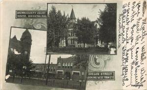 1906 County Court House Oregon Street Hiawatha Kansas postcard 12775