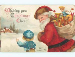 Pre-Linen christmas signed CLAPSADDLE - SANTA CLAUS WALKING WITH BOY W6882