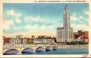 Ohio Columbus Municipal Buildings and A I U Citadel 1937 Curteich