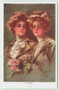 Philip Boileau~The Twins~Lovely Ladies in Victorian Suits~Flower Bouquets~1911