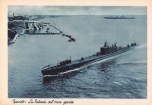 Taranto Italy La Rotonda Submarine in Harbour Antique Postcard J71915