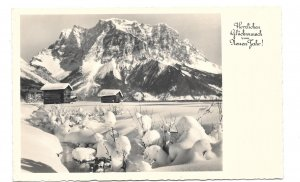 RPPC Neuen Jahr German Real Photo New Years Postcard Cabins Snowy Mountain