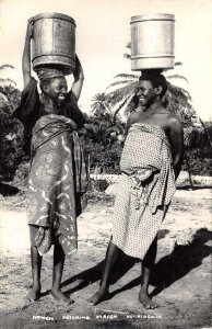 Nigeria Africa Women Fetching Water Real Photo Vintage Postcard AA5010