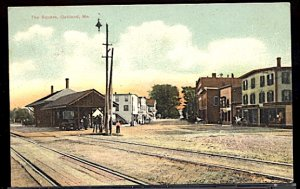 USA The Square and Railroad Station Oakland Maine   CDS 1909