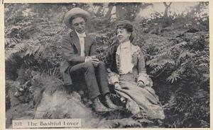 Shy Bashful Love Lover Nervous Romance Man With Lady Antique Real Photo Postcard