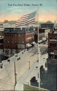 Aurora IL East Fox St. c1910 Postcard - American Flag
