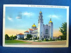 Postcard TX San Antonio National Shrine of the Little Flower #2
