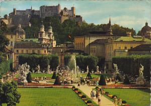 Austria Salzburg Mirabell Garden with Cathedral and Fortress