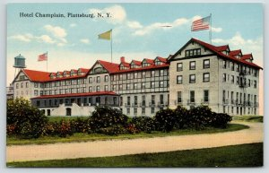 Plattsburg New York~Hotel Champlain~Flags on Roof~Water Tower Behind~c1910