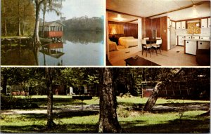 Trail's End Camp Hotel Withlacoochee River FL Fishing Lake Boots vtg Postcard