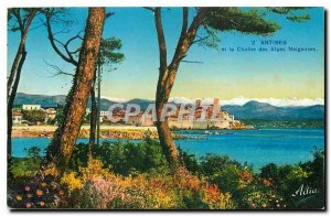 Old Postcard Antibes and the Alps Snowy Chain