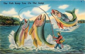 East Union Indiana~Greetings~Exaggerated Fish Keep You On The Jump~1950 Postcard