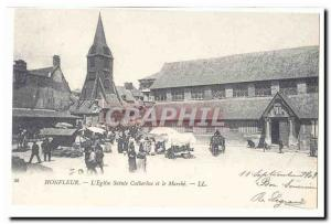Honfleur Postcard Old l & # 39eglise St. Catherine and the market (reproduction)