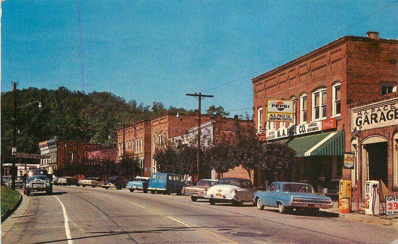 Asheville Autos Main Street Saluda North Carolina 1965 Postcard Roberts 12458
