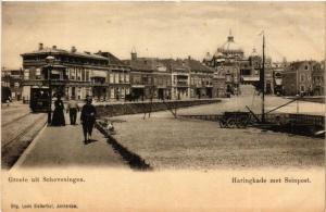 CPA Groete uit SCHEVENINGEN Haringkade met Seinpost NETHERLANDS (602138)