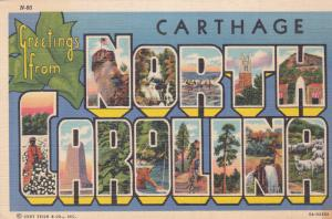 US Postcard 1941 Greetings from Carthage, North Carolina 8A-H2658 N-60 SC #899