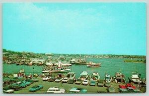 Cape Cod Massachusetts~Hyannis Harbor~Sightseeing Boat~Dock~60s Cars~1960s