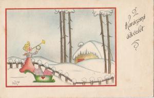 Plotz signed winter seasonal Christmas greetings Hungary trumpeter angel sledge
