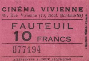 Cinema Rue Vivienne Montmartre 1950s French Ticket