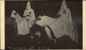 KKK Ku Klux Klan Men on Horses GUARDS ON DUTY Postal Card Postcard