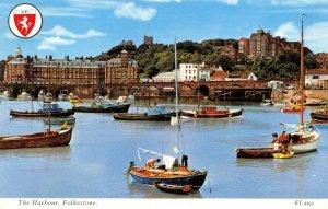 Vintage Kent Postcard, The Harbour, Folkestone, Boats, FH9
