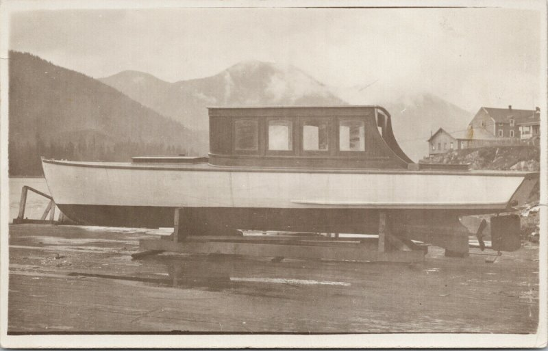 Boat on Land Pacific Coast Canada ?? Unused Real Photo Postcard G81 *as is