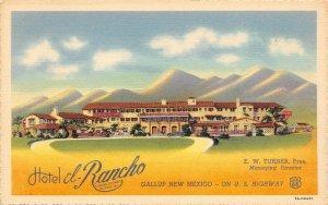 LP05 Gallup New Mexico Postcard Rt 66 Hotel El-Rancho
