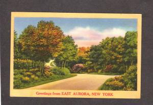 NY Greeting From East Aurora New York Linen Postcard