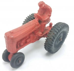 Vintage Auburn Rubber Co 4 Toy Tractor Red W/ Black Wheels