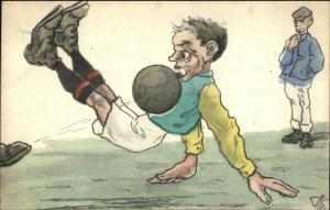 Soccer Football - Great Art Hand Colored c1910 Postcard Printed in Hungary jrf