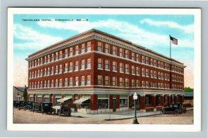 Kirksville MO, Travelers Hotel Building, Vintage Missouri c1944 Postcard